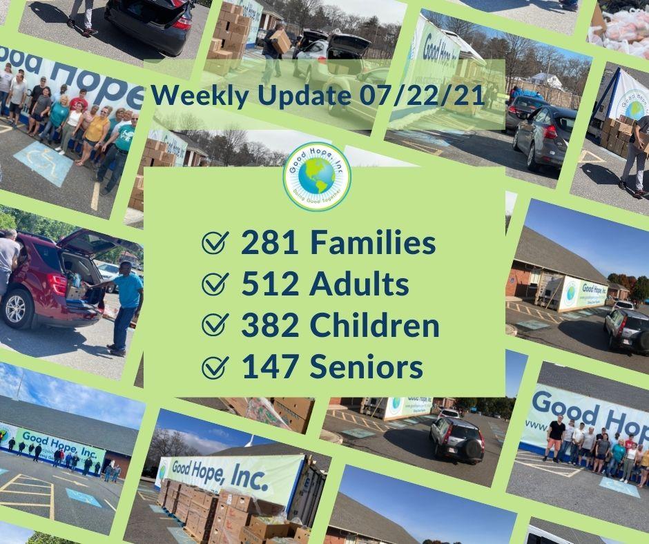 Good Hope Food Pantry weekly update 07/22/21